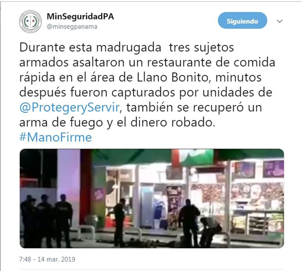 Asaltan a mano armada restaurante en Llano Bonito. La Policía los captura