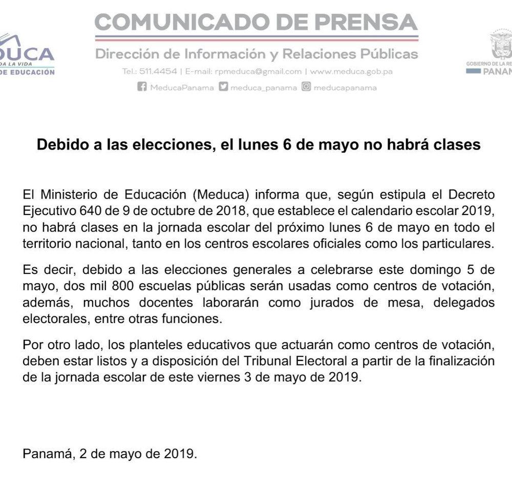 Calendario Escolar Universidad De Panama 2019.No Habra Clases El Lunes Les Diremos Por Que Y Donde