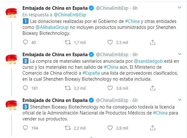 Revuelo. Test rápidos de coronavirus comprados por España están defectuosos. China aclara