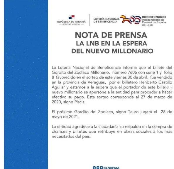 Lotería Nacional espera al nuevo millonario de Panamá