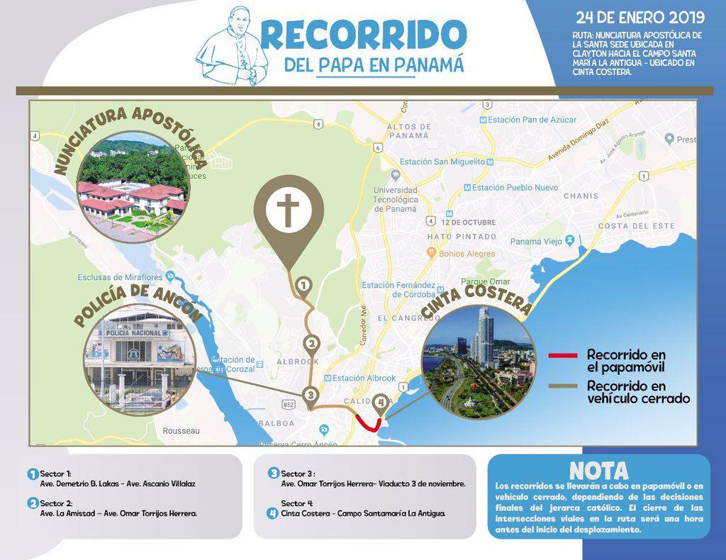 Estos son los 23 desplazamientos que realizará el Papa Francisco durante la JMJ