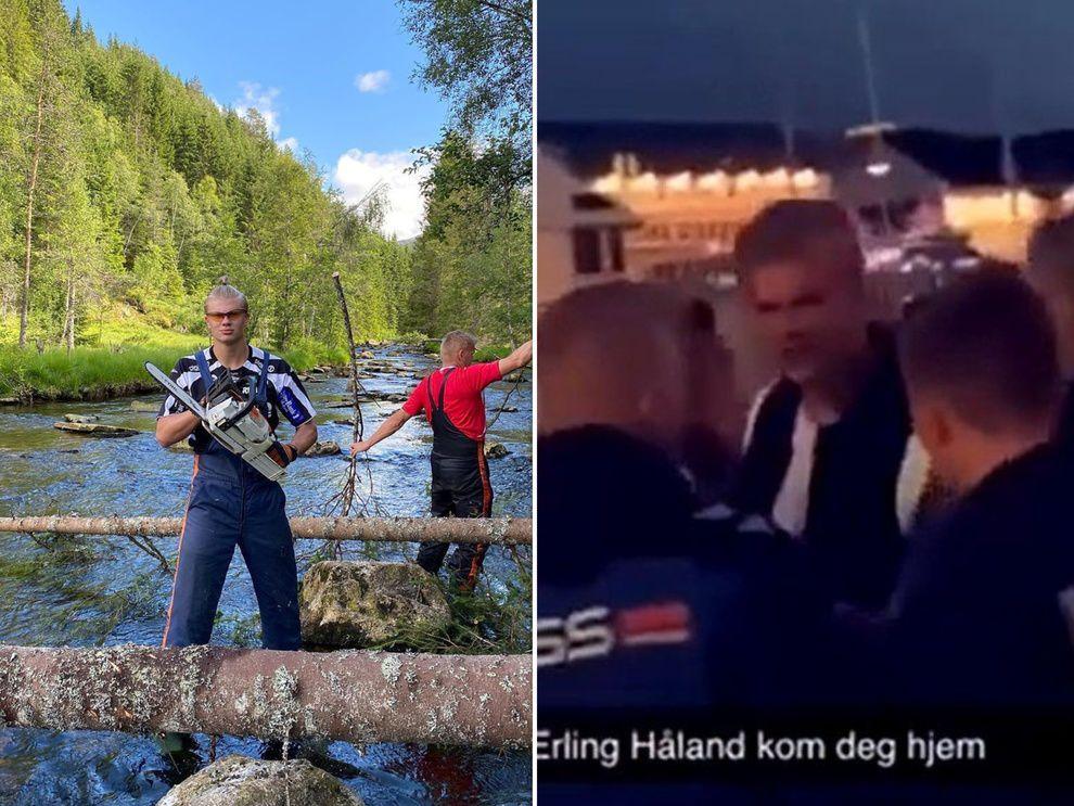 Erling Haaland muy borracho sacado a la fuerza de un boliche